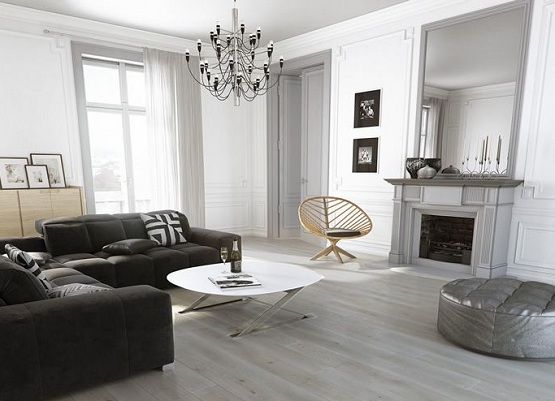 Grey wood floor stain living room with black sofa