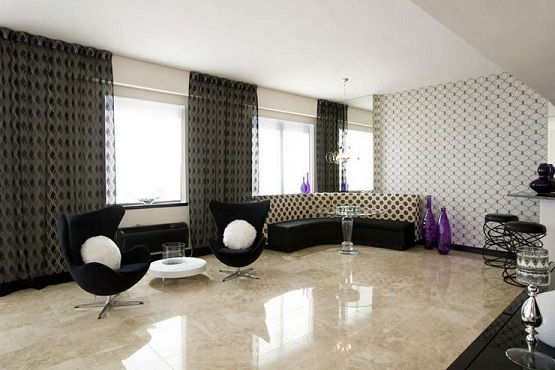 Marble stone flooring options for living room with contemporary design