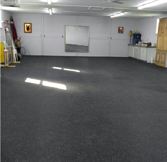 Basement rubber flooring benefits flooring ideas floor for Basement floor covering ideas