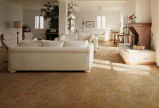 Slate stone tile flooring options for living room with vintage decoration