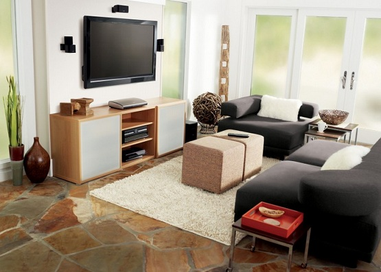 Stone flooring options for living room with natural installation style