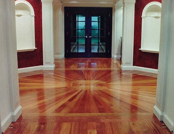 Two different wood floors in house with gorgeous installation