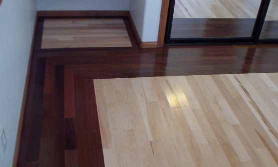 Two different wood floors in house with simple installation