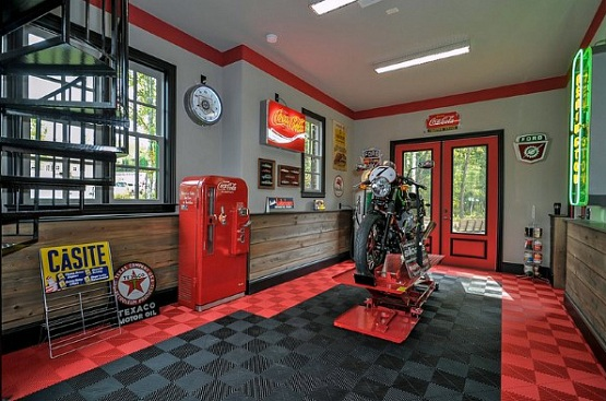 Black and red snap together garage flooring tiles ideas