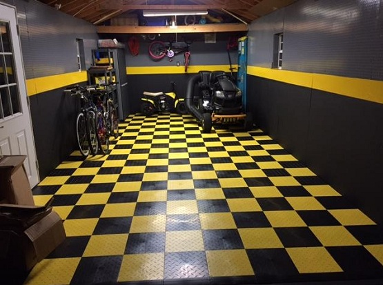 Black and yellow snap together garage flooring tiles ideas
