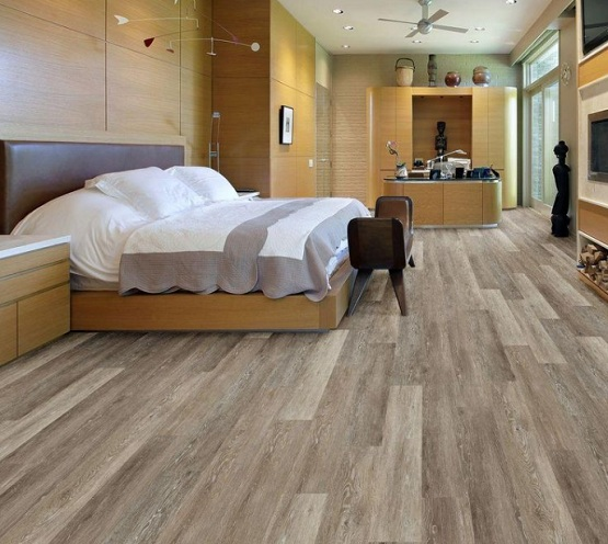 PVC flooring plank that looks like wood in bedroom | Flooring ...