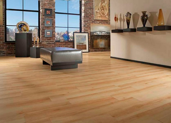 PVC flooring that looks like wood in home art room