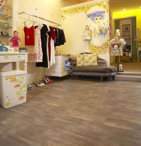 PVC flooring that looks like wood with tile style