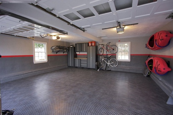 Snap together garage flooring tiles for small garage