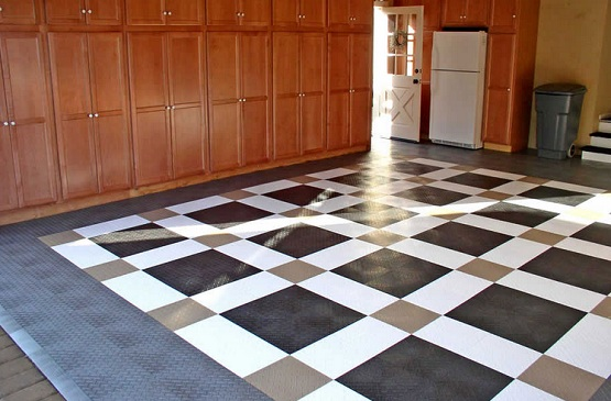 Snap together garage flooring tiles with custom design