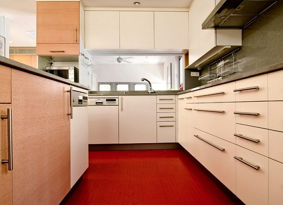 Soft Flooring Options For Kitchen With Red Rubber Floor