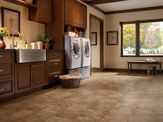 Vinyl flooring that looks like tile in laundry room
