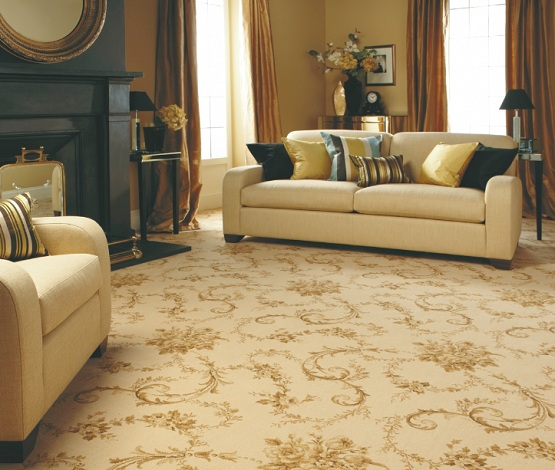 Best flooring for living room with light brown patterned carpet