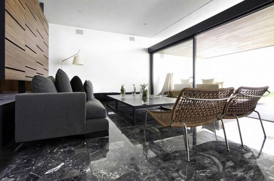 Black marble flooring designs for living room