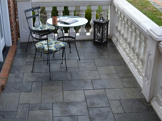 Best Tiles For Backyard : Black slate patio tiles for outdoor patio flooring