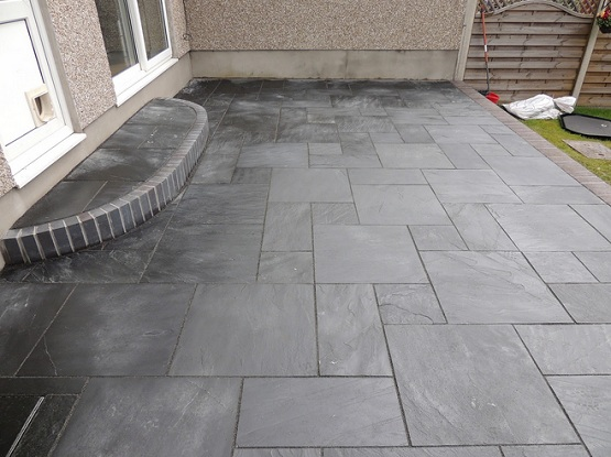 Black slate patio tiles for small narrow patio flooring