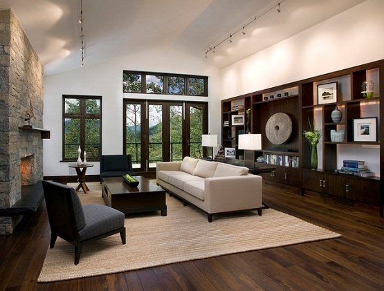Dark wood floor living room with contemporary style decor