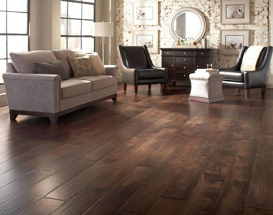 Dark wood floor living room with country living room decor Wood flooring ideas for living room