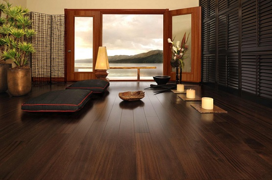 Dark wood floor living room with modern japanese style decoration