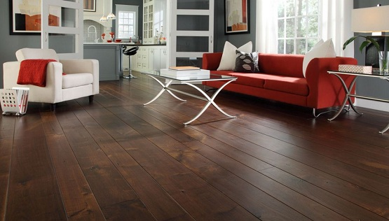 Dark wood floor living room with red and white sofa - Dark hardwood floor living room ideas ...
