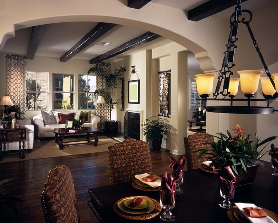 Dark wood floor living room with wood beams ceiling