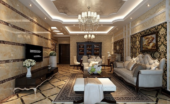 Marble flooring designs for living room with European style decoration