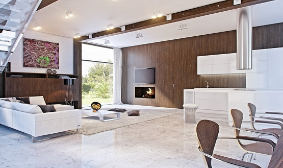Marble flooring designs for living room with contemporary style concept
