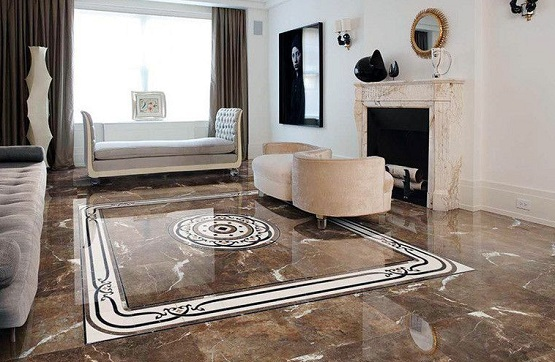 Marble flooring designs for living room with fireplace flooring ideas floor design trends for Living room floor designs pictures