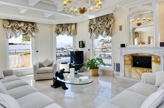 Marble flooring designs for living room with luxurious curtains