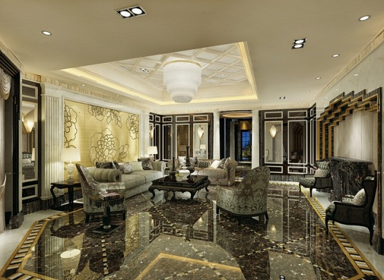 Marble flooring designs for living room with luxury wall decor
