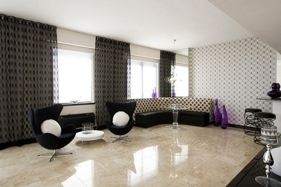 Marble flooring designs for living room with simple pattern