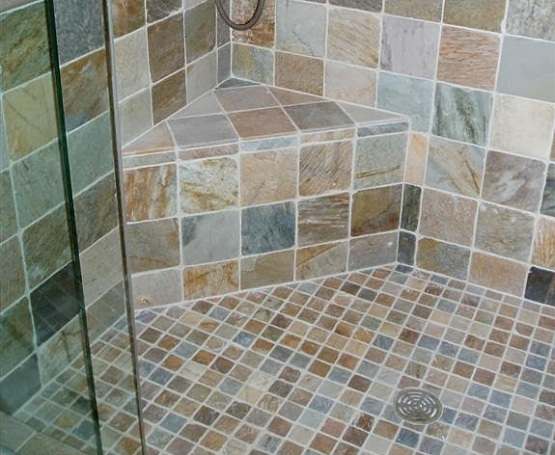 Mosaic Slate Tile Floor In Bathroom Shower Floor
