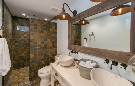 Mosaic slate tile in country style bathroom