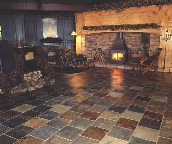 natural slate flooring ideas for your house natural slate flooring for rustic fireplace decor - Flooring Decor