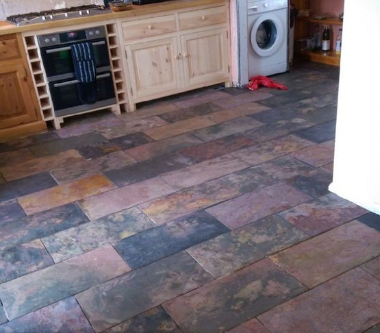 Natural slate flooring on kitchen and laundry room