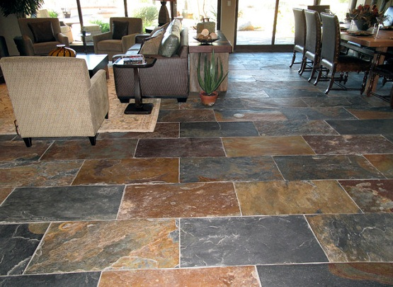 Natural Slate Flooring Ideas For Your House » Natural Slate Flooring On  Living And Dining Room