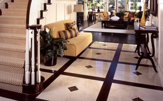 Simple pattern marble flooring designs for living room with brown sofa