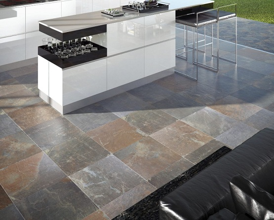 Slate Tiles Outdoor Floor For Contemporary Outdoor Kitchen Flooring