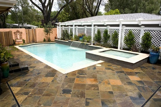 Slate tiles outdoor for backyard with pool