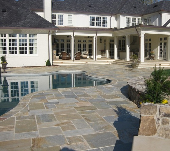 Tile Around Pool : Slate tiles outdoor for beautiful landscape patio with