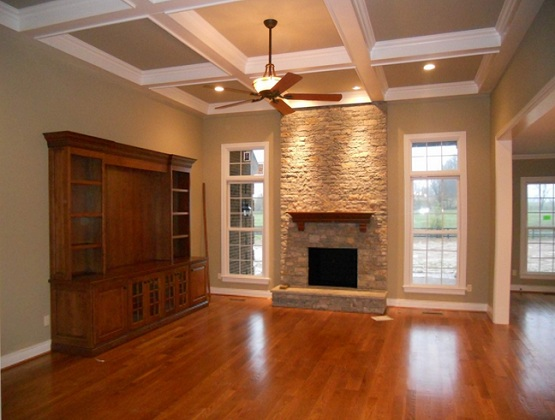 Synthetic wood flooring for living room with fireplace and for Wood floor up to fireplace