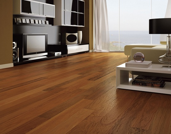 Synthetic wood flooring for living room with large glass windows
