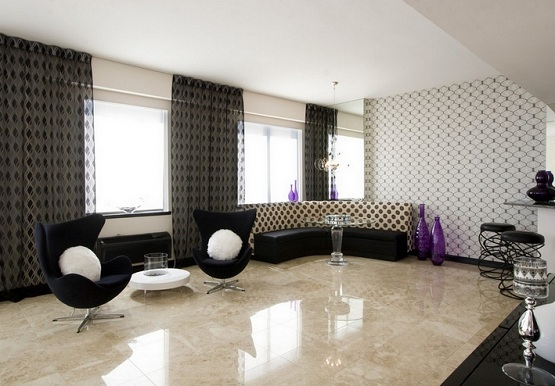 Tiles design for living room with contemporary living room chairs