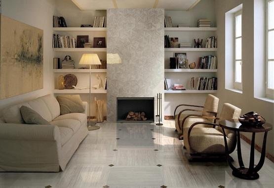 Tiles design for living room with contemporary style decoration