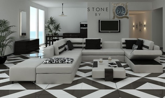 Tiles Design For Living Room With Diamond Pattern