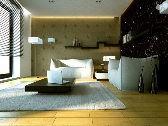 Tiles design for living room with japanese interior decoration