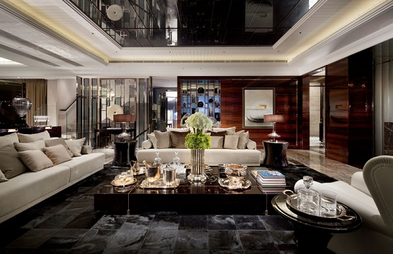 Tiles design for living room with luxurious ceiling and wall decorations