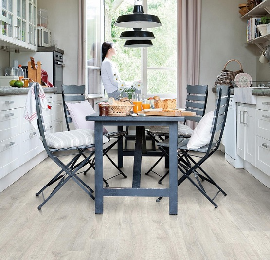 White Oak Laminate Flooring For Kitchen With Dining Table