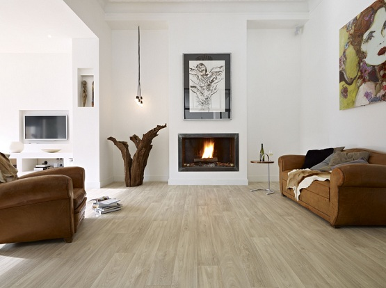 Cushioned vinyl flooring in fireplace room