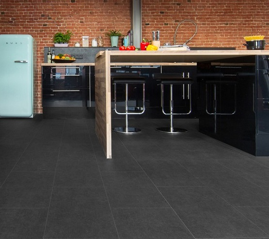 Cushioned vinyl flooring with tile effect in kitchen